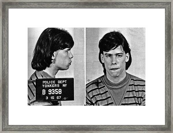 Young Steven Tyler Mug Shot 1963 Pencil Photograph Black And White Framed Print