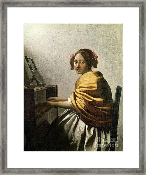 Young Woman At A Virginal Framed Print