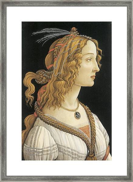 Young Woman In Mythical Guise Framed Print by Sandro Botticelli
