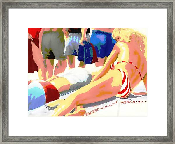 Framed Print featuring the painting Young Woman On A Chaise by G Linsenmayer