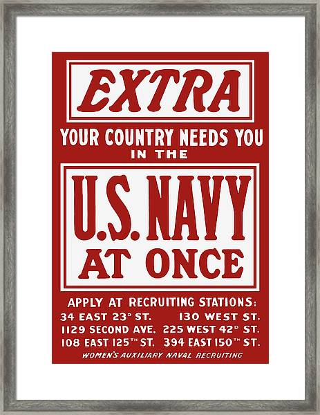 Your Country Needs You In The Us Navy Framed Print