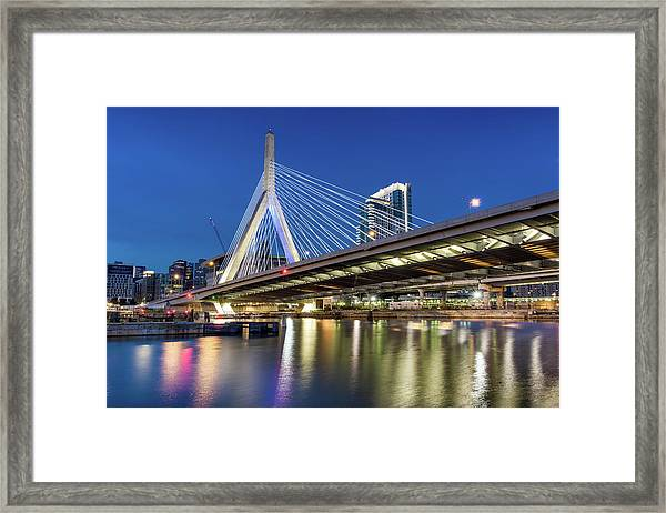 Zakim Bridge And Charles River Framed Print