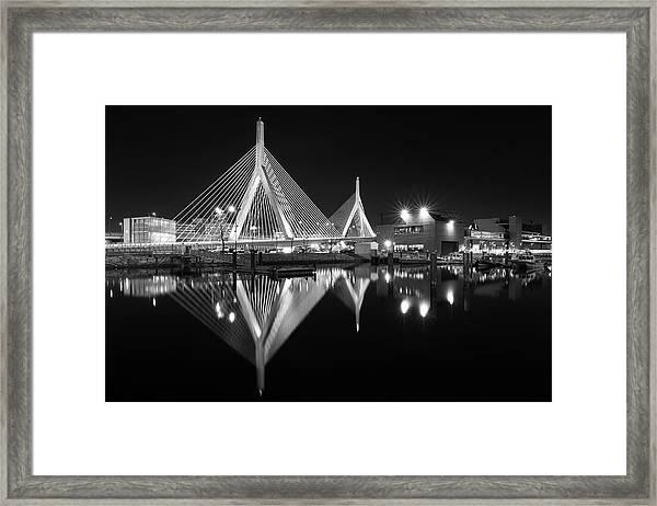 Zakim Bridge From Lovejoy Wharf Framed Print