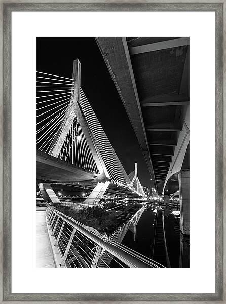 Zakim Bridge From Under The Leverett Connector Bridge Framed Print
