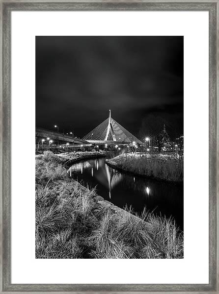 Zakim Bridge Reflecting Under A Moody Sky Framed Print