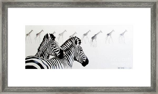 Zebra And Giraffe Framed Print