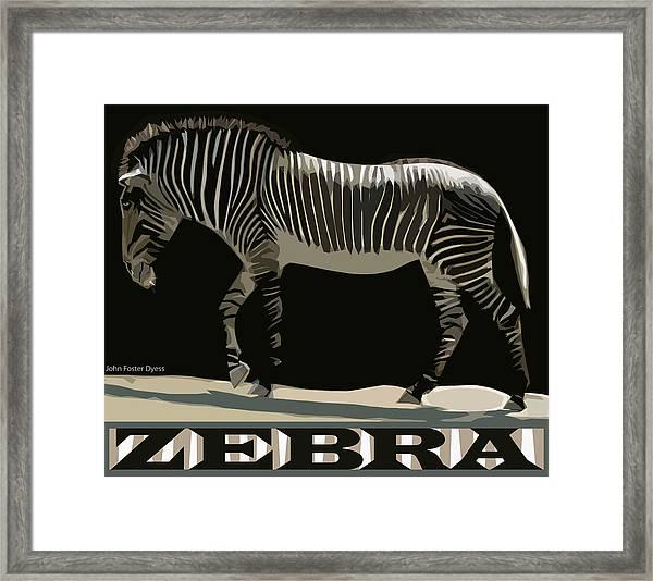 Zebra Design By John Foster Dyess Framed Print
