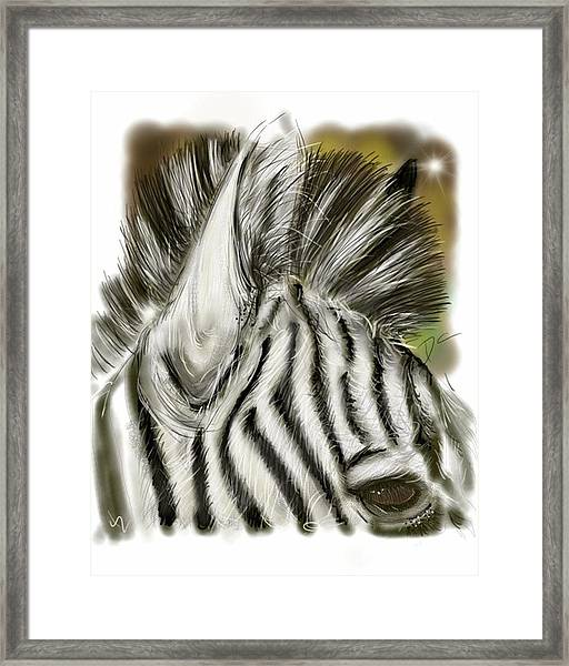 Zebra Digital Framed Print