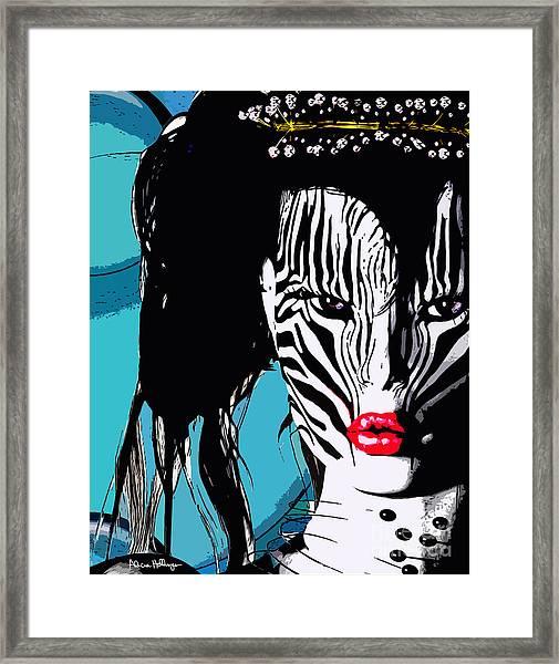 Zebra Girl Pop Art Framed Print