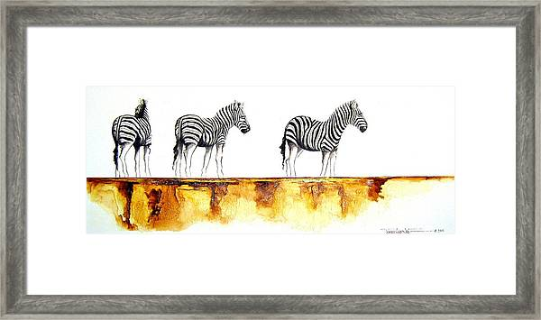 Zebra Trio - Original Artwork Framed Print