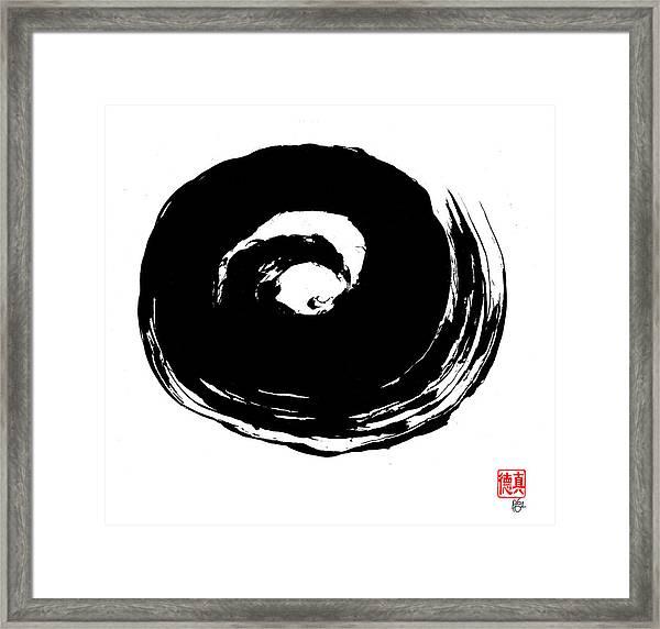 Zen Circle Wave Framed Print