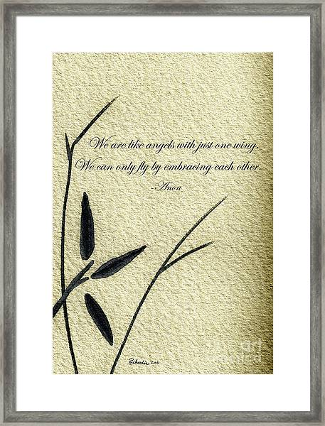 Zen Sumi 4d Antique Motivational Flower Ink On Watercolor Paper By Ricardos Framed Print