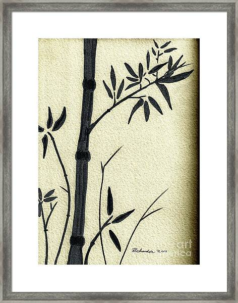 Zen Sumi Antique Bamboo 1a Black Ink On Fine Art Watercolor Paper By Ricardos Framed Print