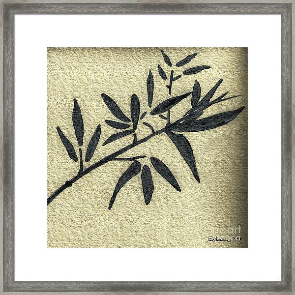 Zen Sumi Antique Botanical 4a Ink On Fine Art Watercolor Paper By Ricardos Framed Print