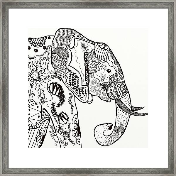Zentangle Elephant Framed Print