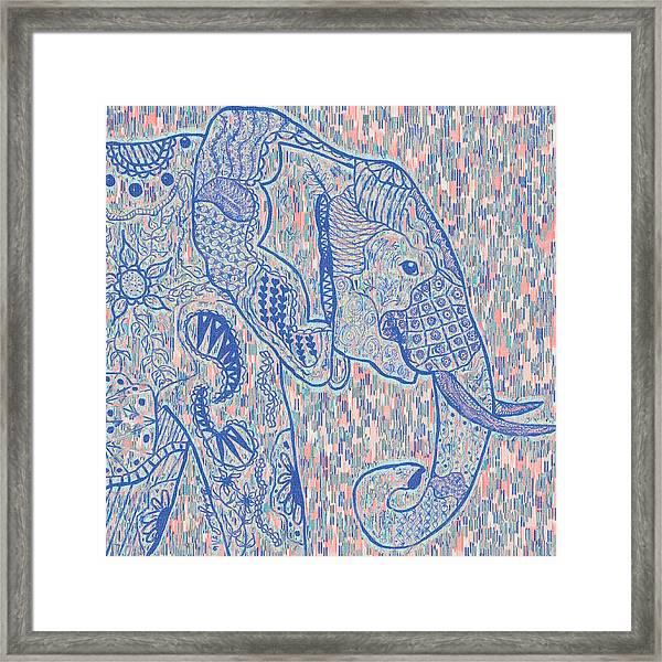 Zentangle Elephant-oil Framed Print