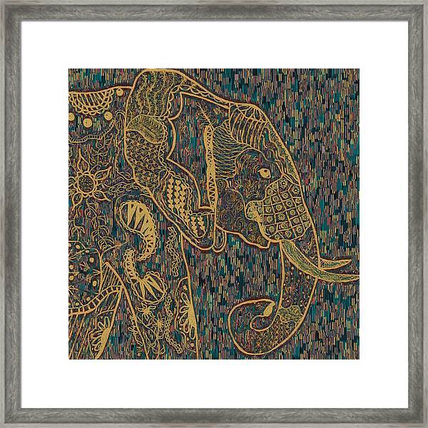 Zentangle Elephant-oil Gold Framed Print