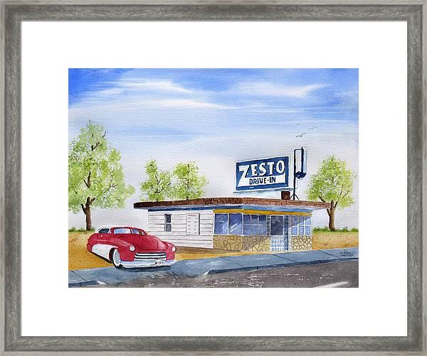 Zesto Drive In 12 X 16 Print Framed Print