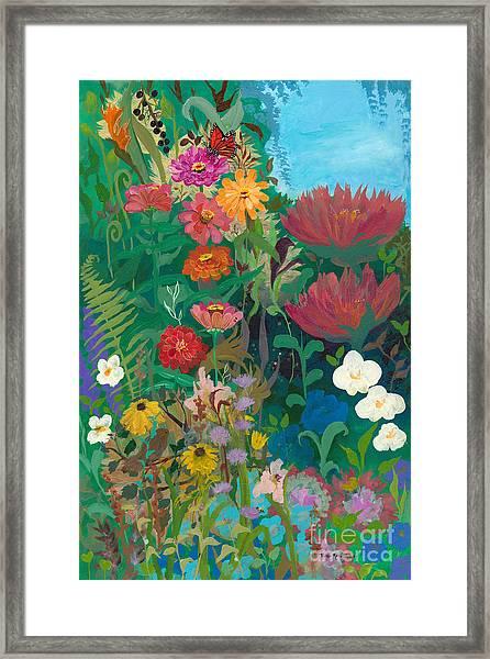 Zinnias Garden Framed Print