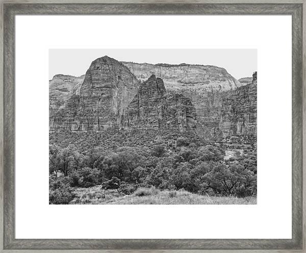 Zion Canyon Monochrome Framed Print