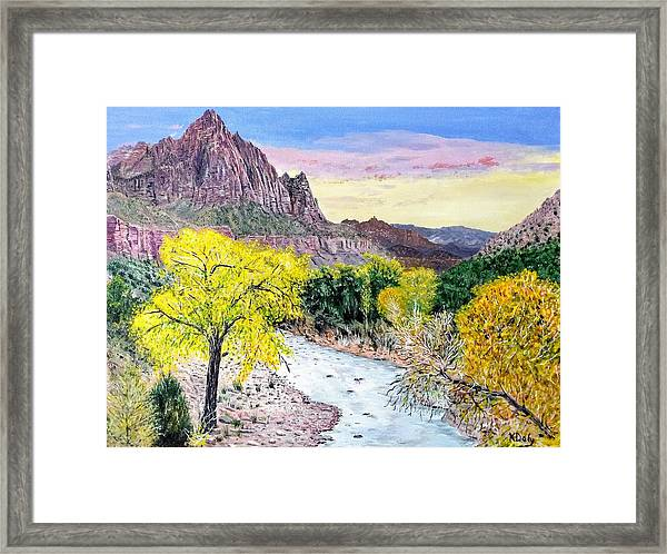 Framed Print featuring the painting Zion Creek by Kevin Daly
