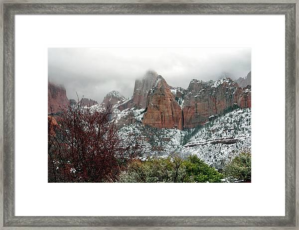 Zion Winter Skyline Framed Print