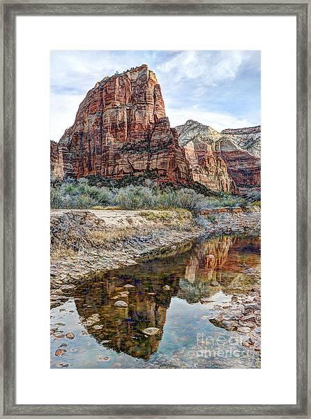 Zions National Park Angels Landing - Digital Painting Framed Print