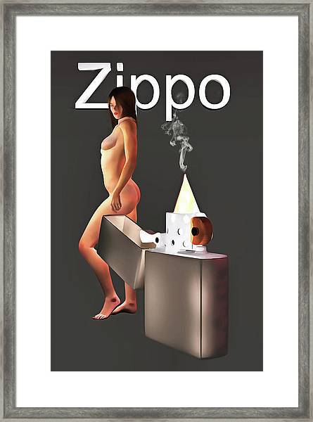 Framed Print featuring the painting Zippo Flame by Jan Keteleer