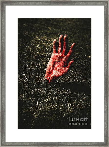 Zombie Rising From A Shallow Grave Framed Print