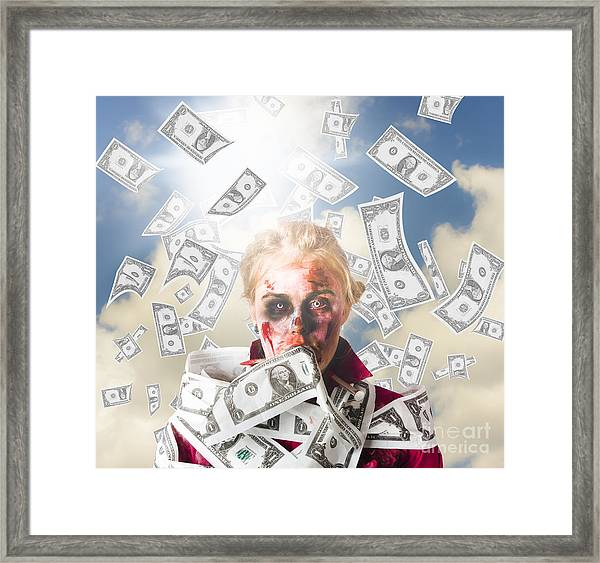 Zombie With Crazy Money. Filthy Rich Millionaire Framed Print