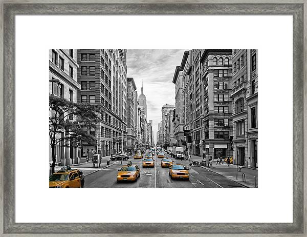 5th Avenue Nyc Traffic Framed Print