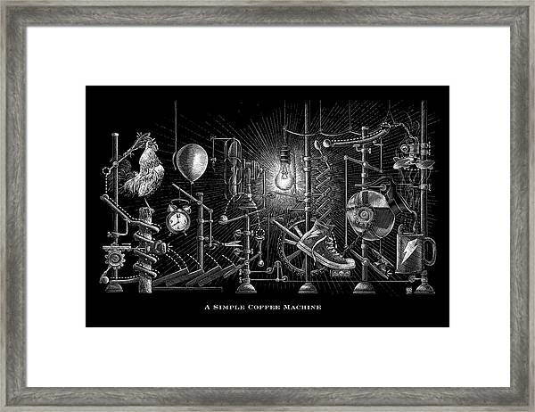 Framed Print featuring the drawing A Simple Coffee Machine by Clint Hansen