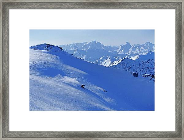A Young Skier, A Freerider Skiing In Framed Print