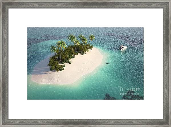 Aerial View Of A Caribbean Desert Framed Print