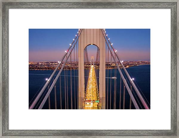Aerial View Of Verrazzano Narrows Bridge Framed Print