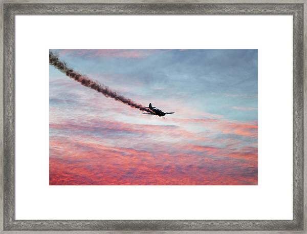 Airshow Smoke Trail At Sunset Framed Print