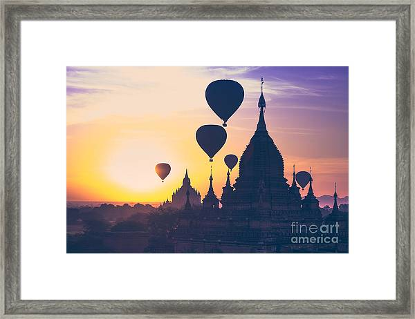 Amazing Misty Sunrise Colors And Framed Print