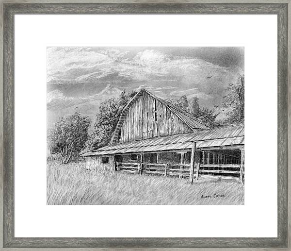Framed Print featuring the drawing Barn On Byhalia Road by Barry Jones