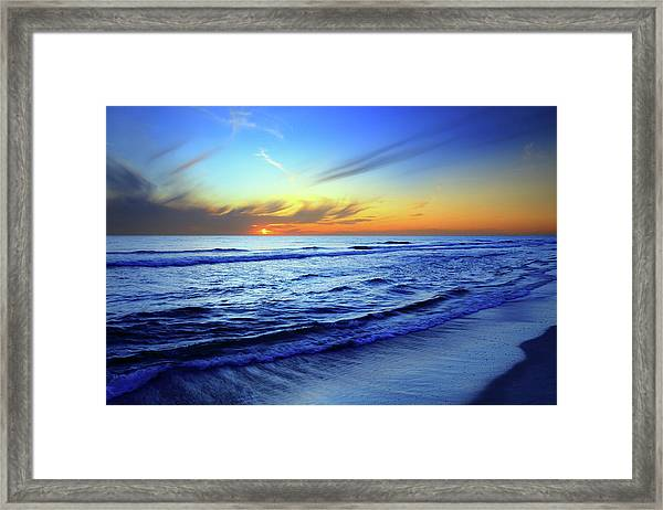 Beach And Sea Sunset Framed Print