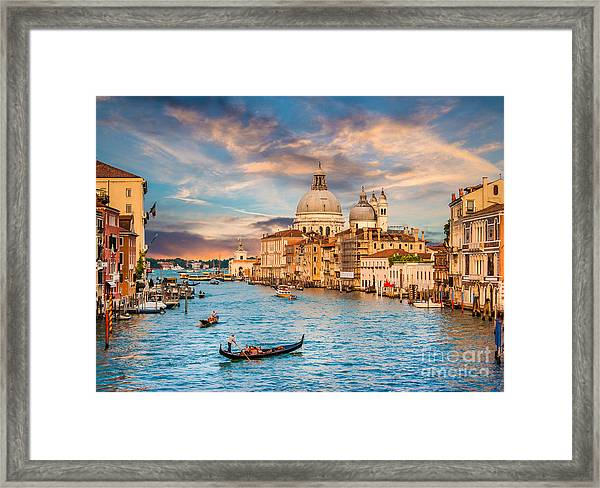 Beautiful View Of Traditional Gondola Framed Print