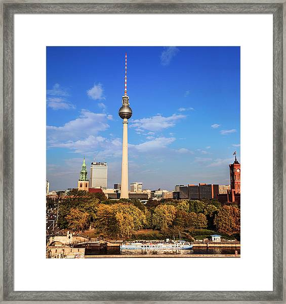 Berlin, Germany Fernsehturm Tv Tower Framed Print by Miva Stock