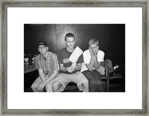 Blink 182 Pose For A Portrait In Los Framed Print by Jim Steinfeldt