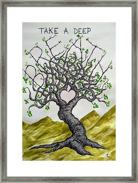Framed Print featuring the drawing Breathe Love Tree by Aaron Bombalicki