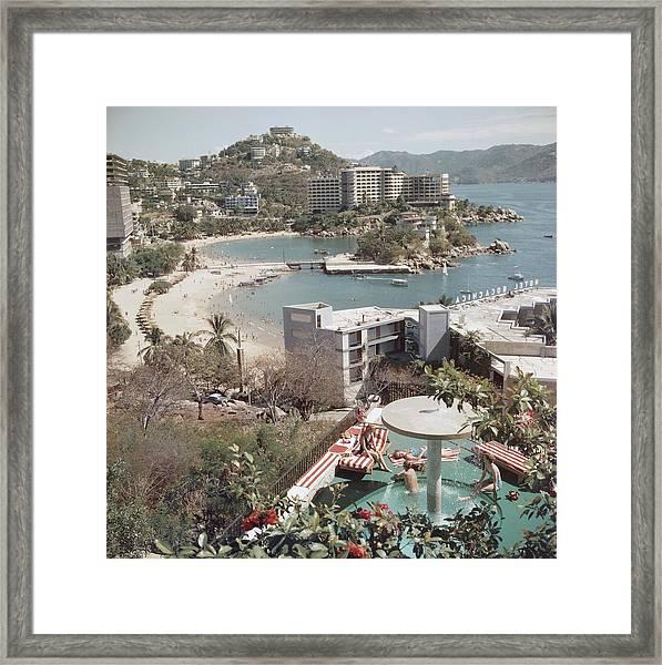 Caleta Beach, Acapulco Framed Print by Slim Aarons