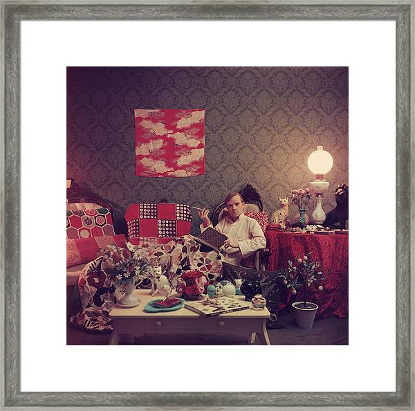Capote At Home Framed Print