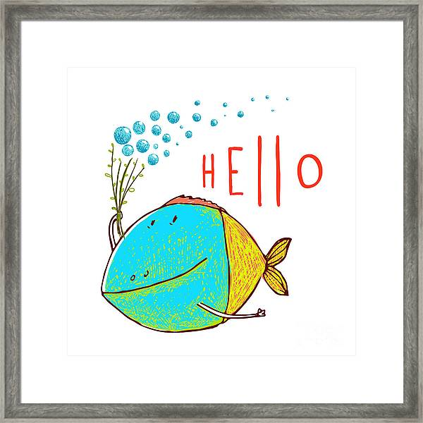 Cartoon Funny Fish Greeting Card Design Framed Print