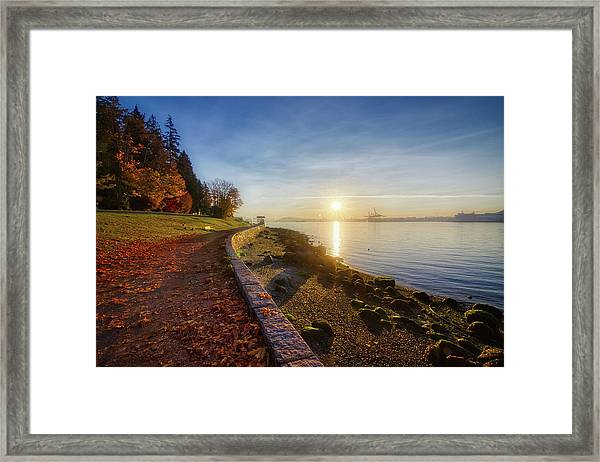 Colorful Autumn Sunrise At Stanley Park Framed Print