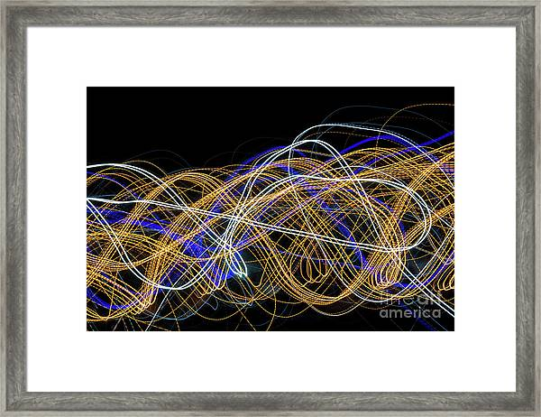 Colorful Light Painting With Circular Shapes And Abstract Black Background. Framed Print