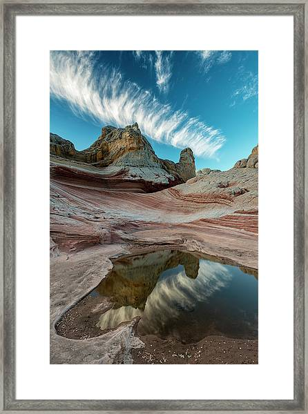 Contrail, Pool Reflection And Sandstone Framed Print by Howie Garber