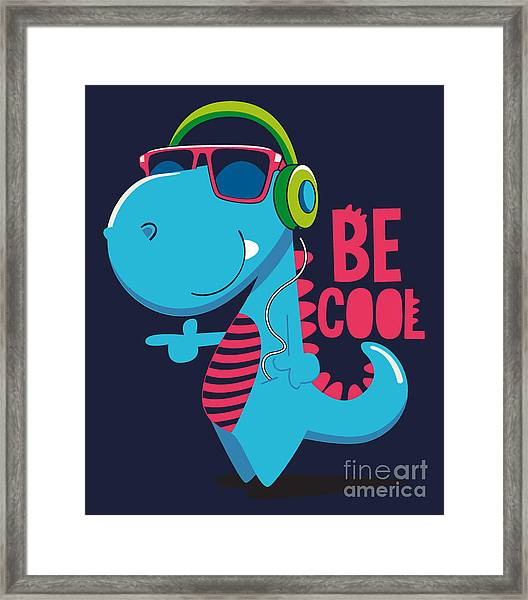 Cool Dinosaur Character Design Framed Print by Braingraph